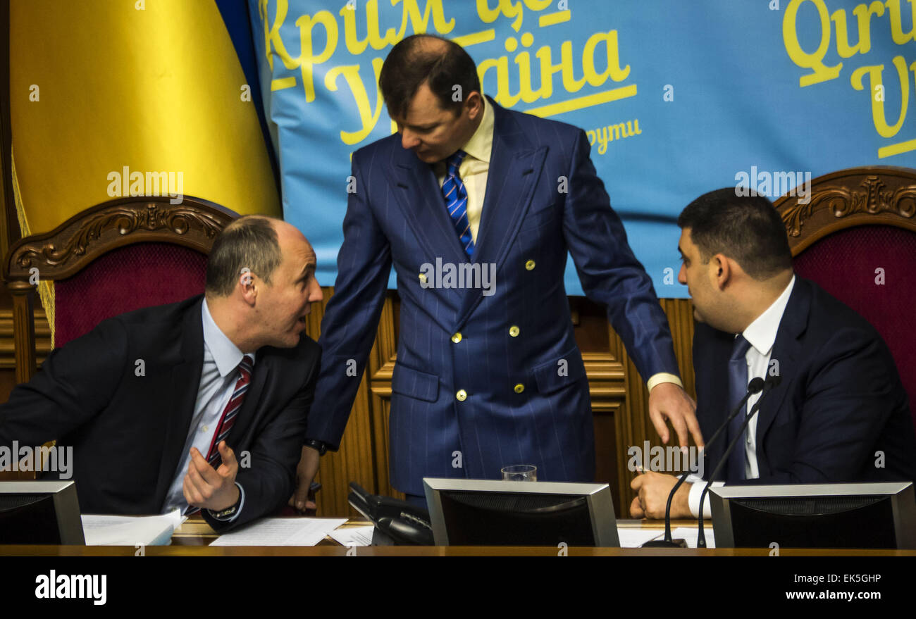 April 7, 2015 - The presidium counsel (left to right) Deputy Chairman of the Verkhovna Rada of Andrei Parubyl leader - Stock Image