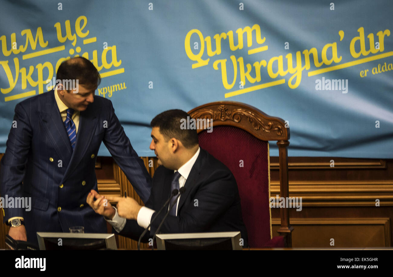 April 7, 2015 - The presidium confer leader of the Radical Party Oleg Lyashko and Chairman of the Parliament Vladimir - Stock Image