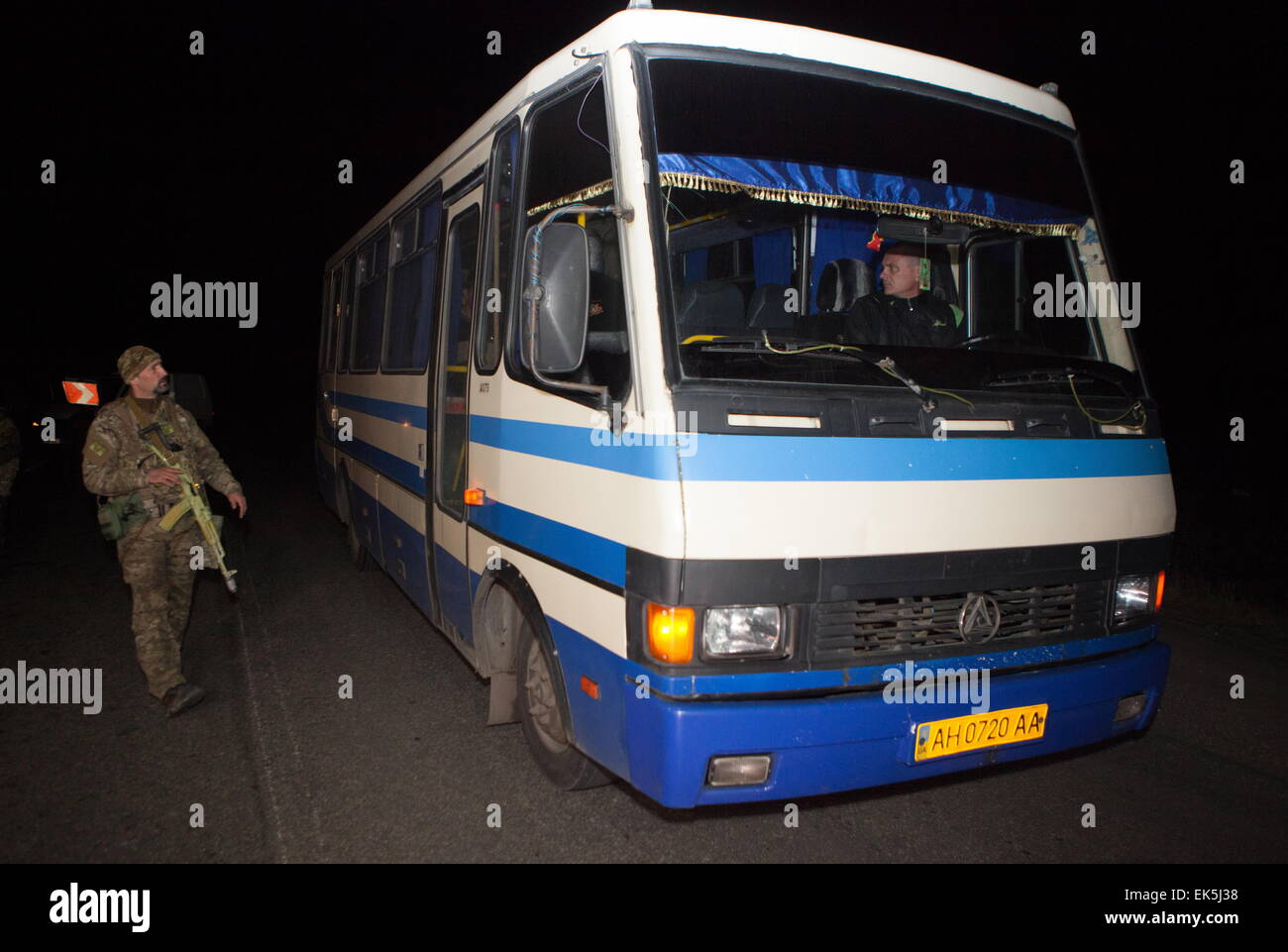 Donetsk Region, Ukraine. 6th Apr, 2015. A bus carrying captured Ukrainian security officials during a handover ceremony - Stock Image
