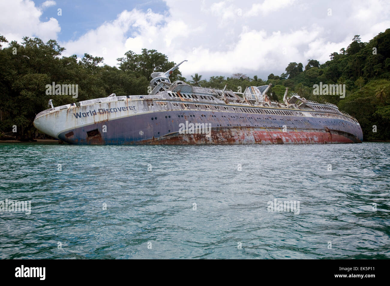 The Aussie expedition cruiser Orion pays a call on its new Melanesia & Solomon Islands itinerary to Ngella Island. - Stock Image
