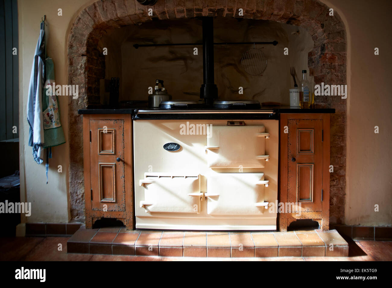 Old fashioned Aga in a country kitchen - Stock Image