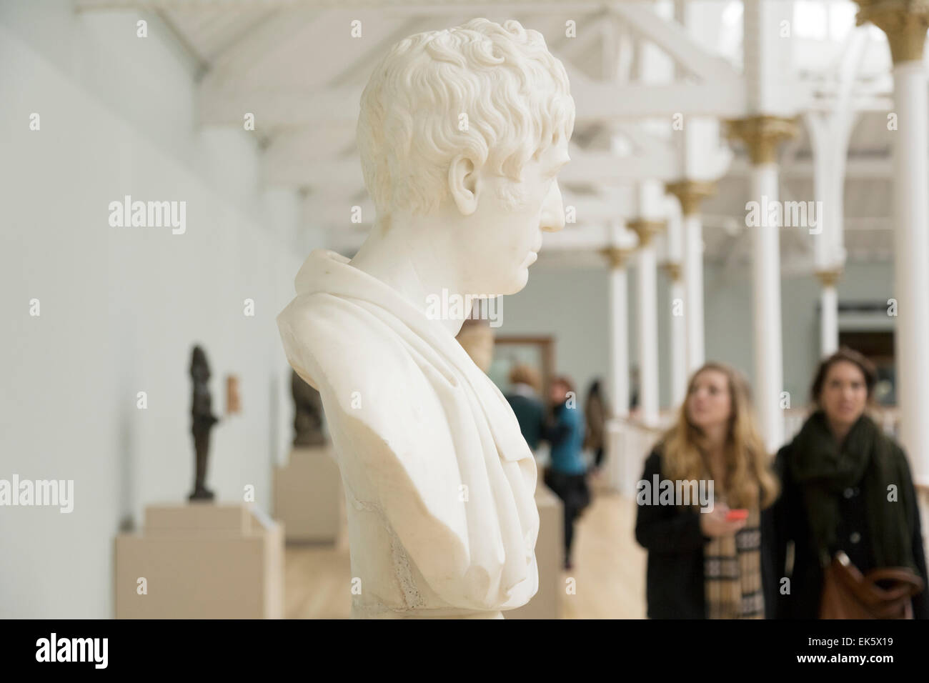 National Museum Of Scotland. Busts On Walkway Of Second Floor. - Stock Image