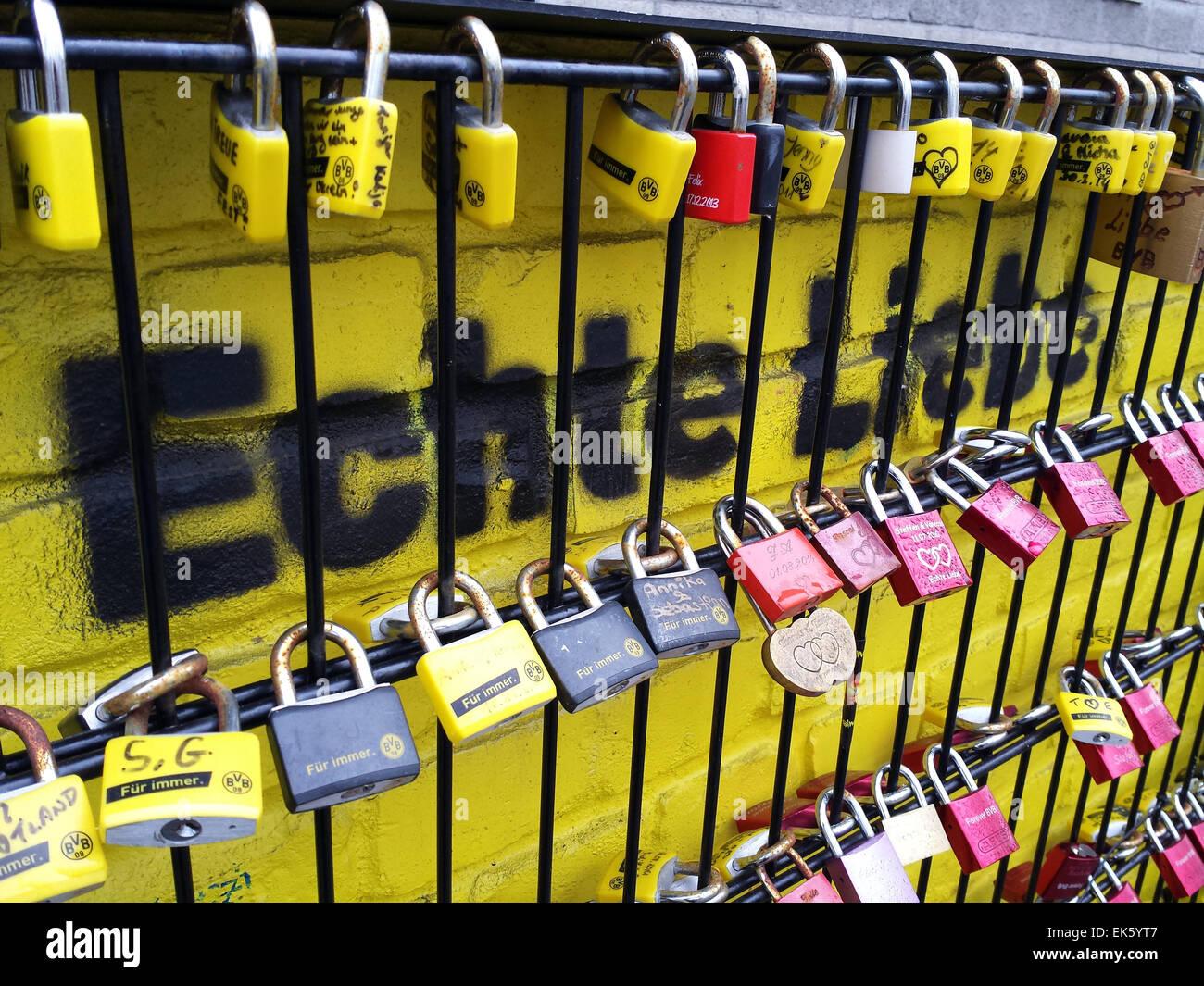 Germany, Dortmund, Signal Iduna Park soccer stadium: The so called 'Wall of Love' (writing says 'real - Stock Image