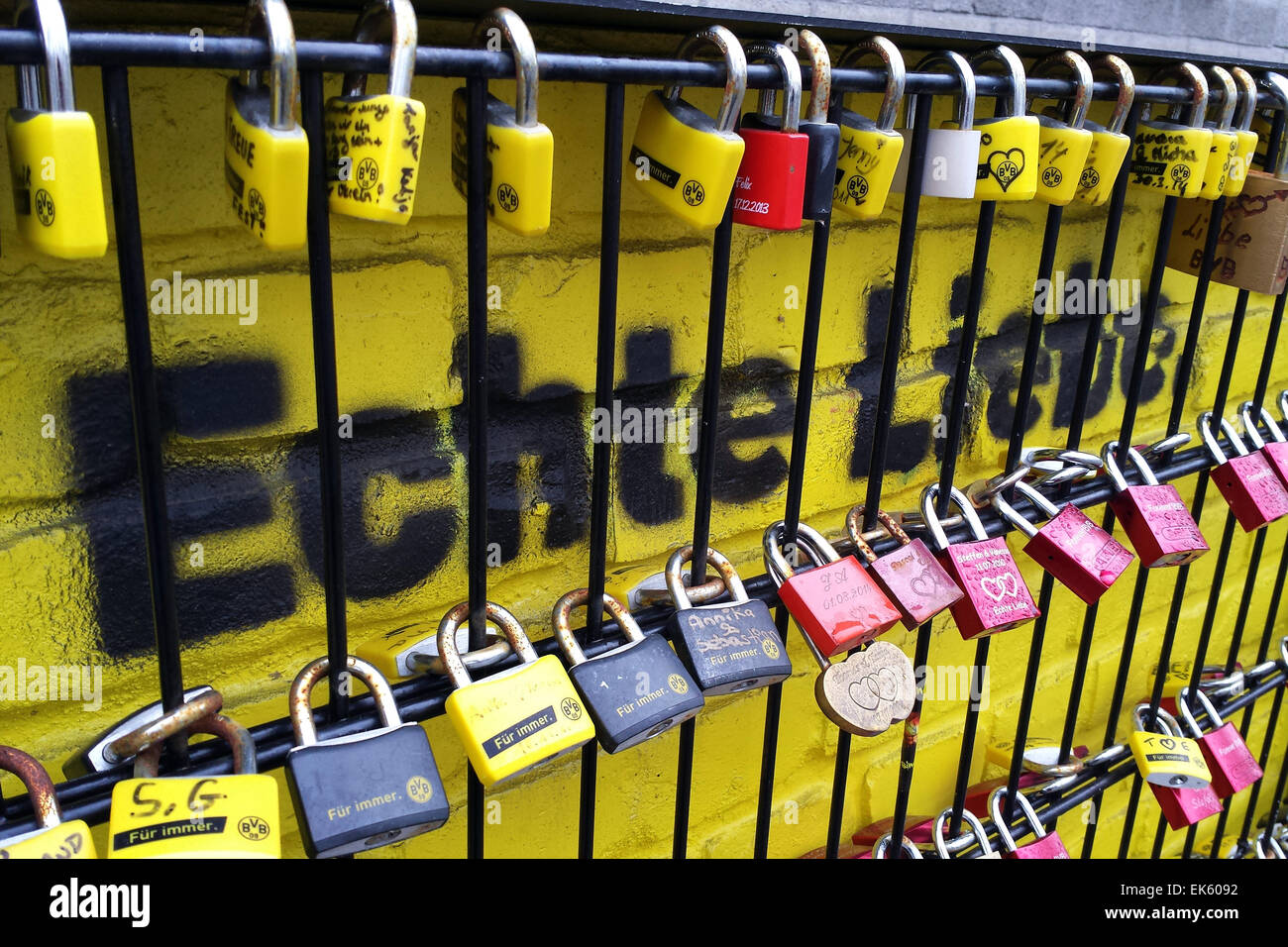 Germany, Dortmund, Signal Iduna Park soccer stadium: The so called 'Wall of Love' at the stadium, fans of - Stock Image