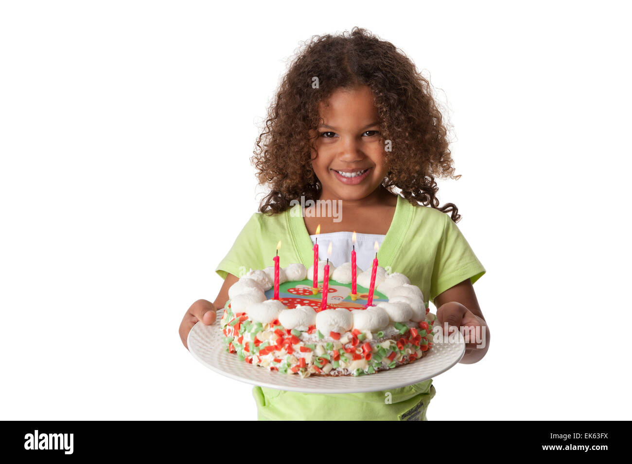 Wondrous Five Year Old Girl With A Birthday Cake With 5 Candles On White Funny Birthday Cards Online Fluifree Goldxyz