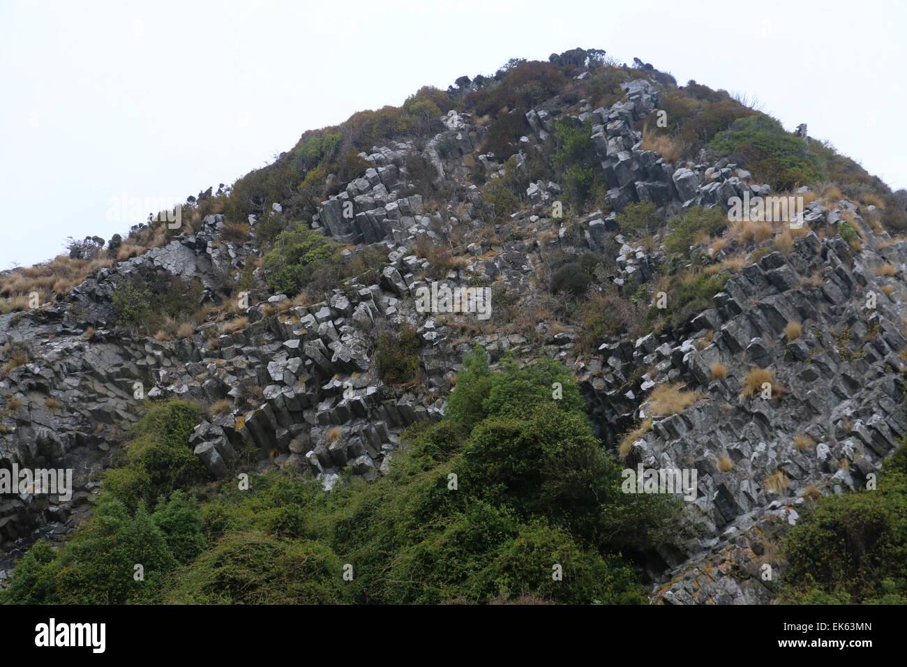 columnar basalt The Pyramids Lava rock formations Otago Peninsula Dunedin South Island New Zealand - Stock Image