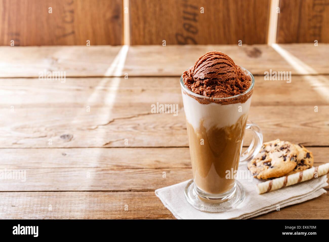 iced coffee with milk and chocolate ice cream - Stock Image
