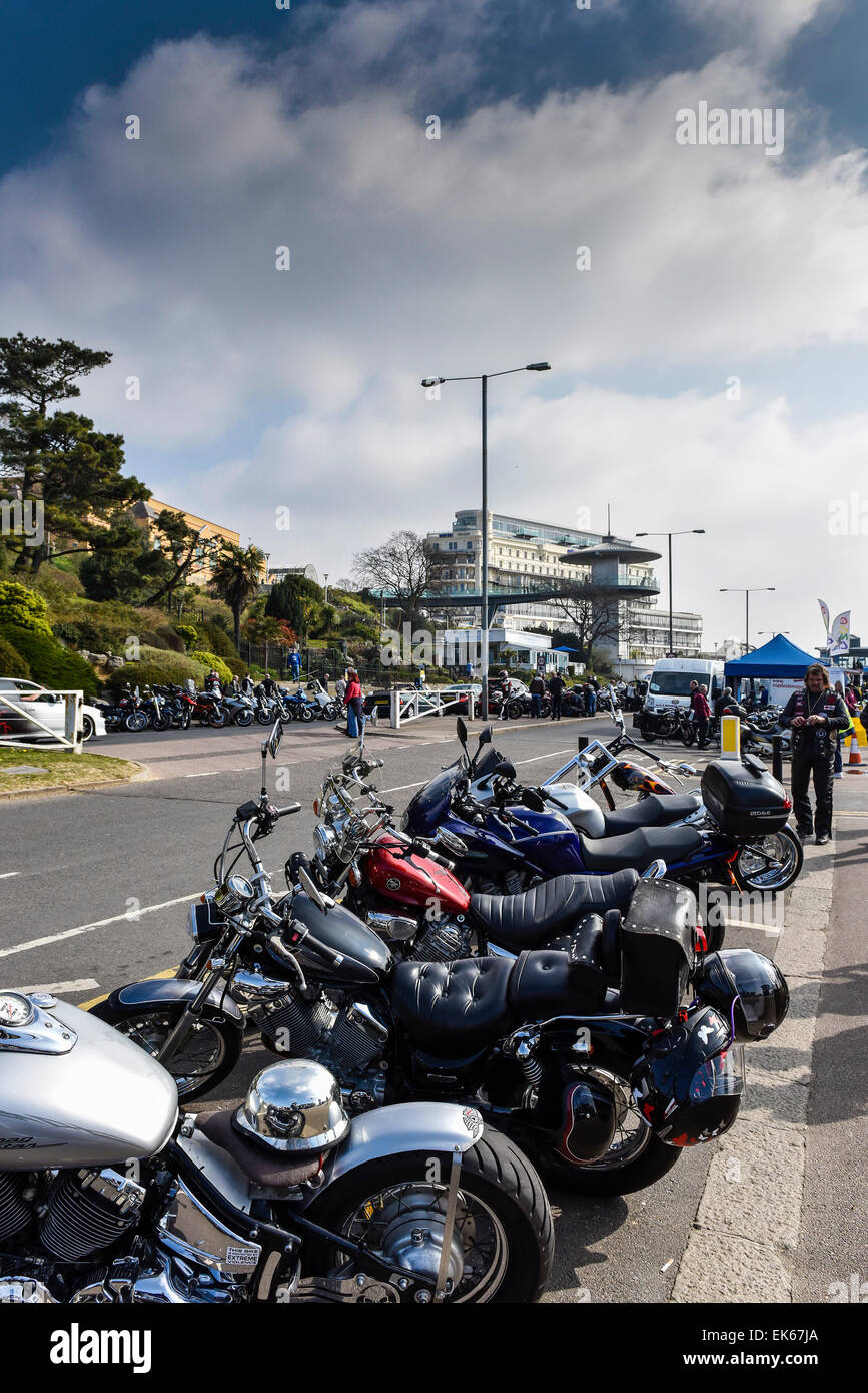 Motorbikes parked on the seafront at the Southend Shakedown. - Stock Image