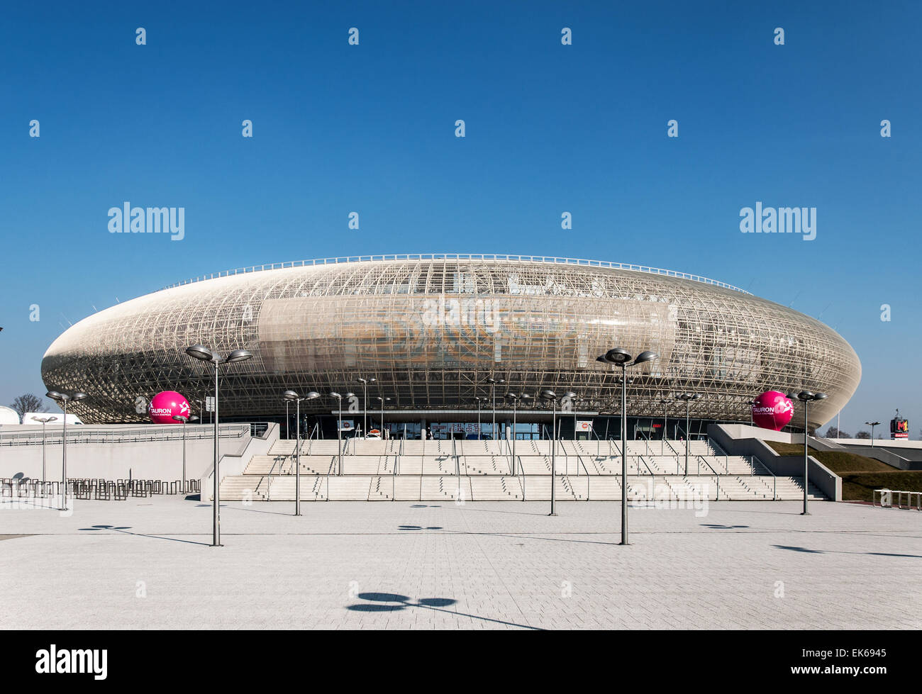 Tauron Arena in Krakow. Modern entertainment and sports venue. The biggest one in Poland. - Stock Image