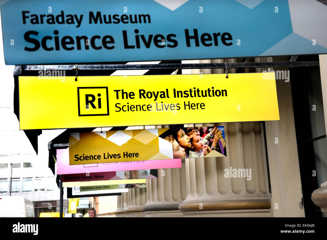 London, England, UK. Faraday Museum at the Royal Institution - signs outside - Albermarle Street, Mayfair. - Stock Image