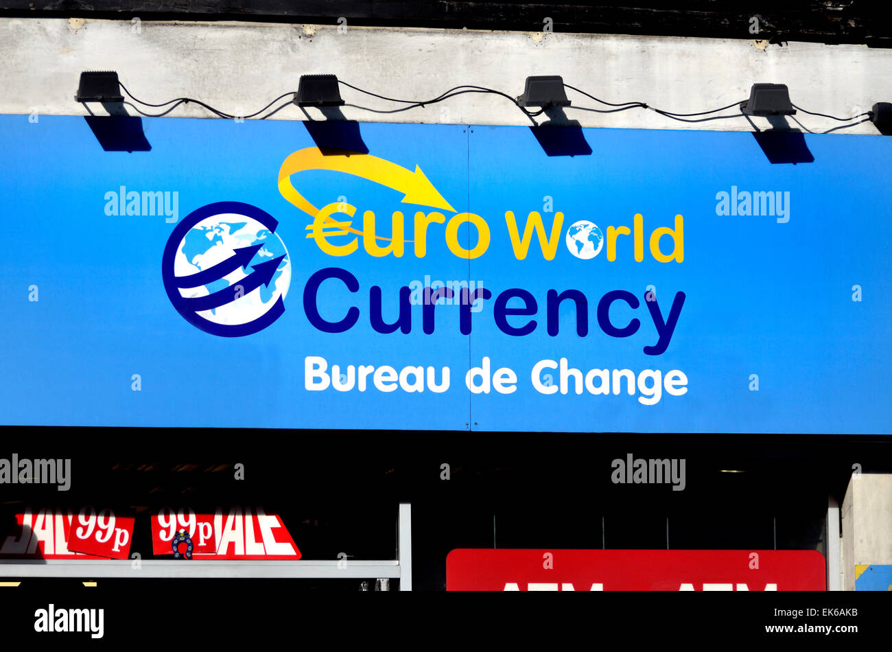 London, England, UK. Euroworld Currency Bureau de Change - Stock Image