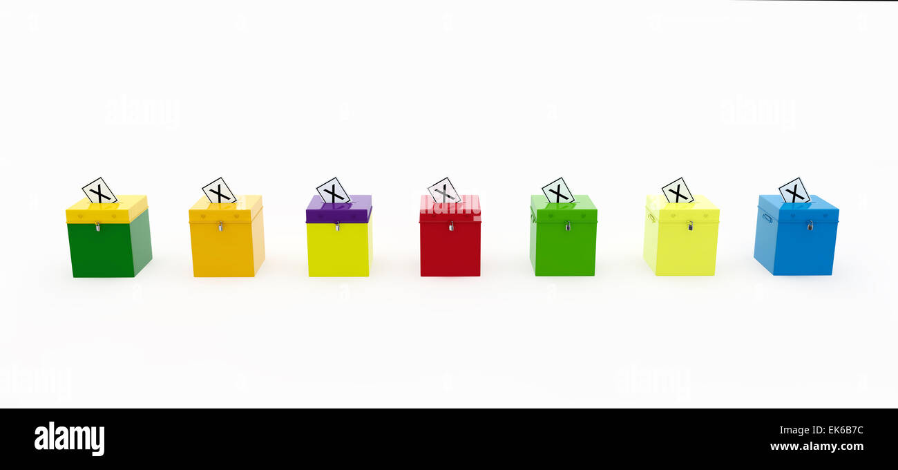 Seven Party Coloured Ballot Boxes In A Row. With X Voting Slips In Holes In Lids. - Stock Image