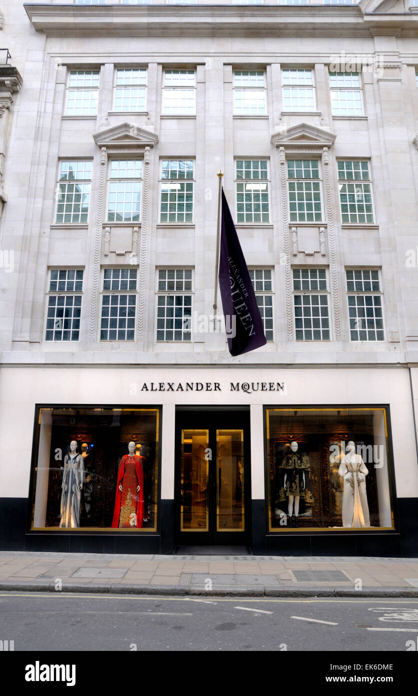 London, England, UK. Alexander McQueen flagship shop in Old Bond Street - Stock Image