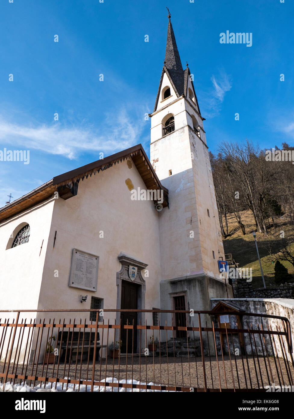 Church, village of Fornesighe, northern Italy - Stock Image