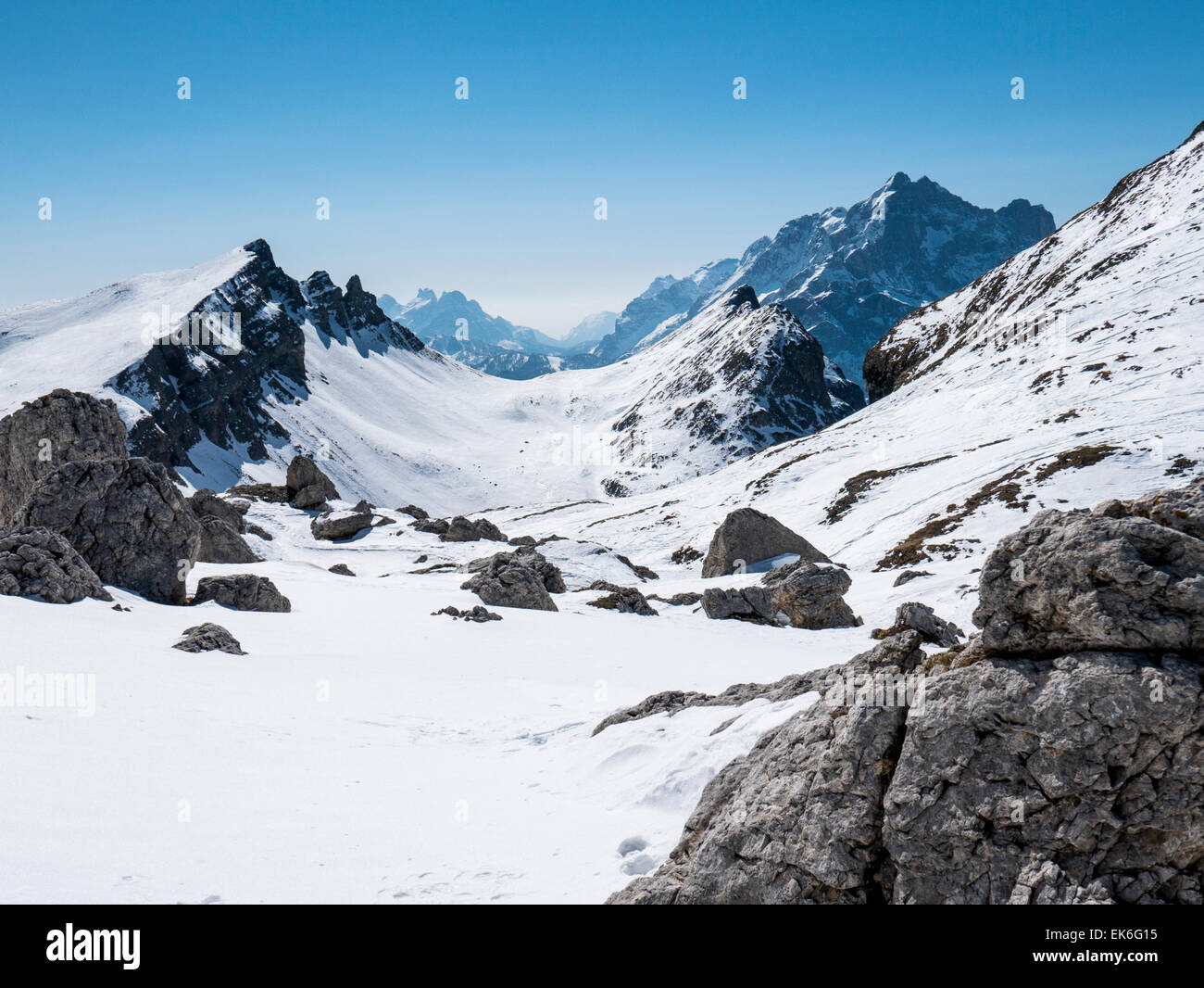 Clear winter day, Mondeval, Dolomite Mountains, Alps, Italy - Stock Image