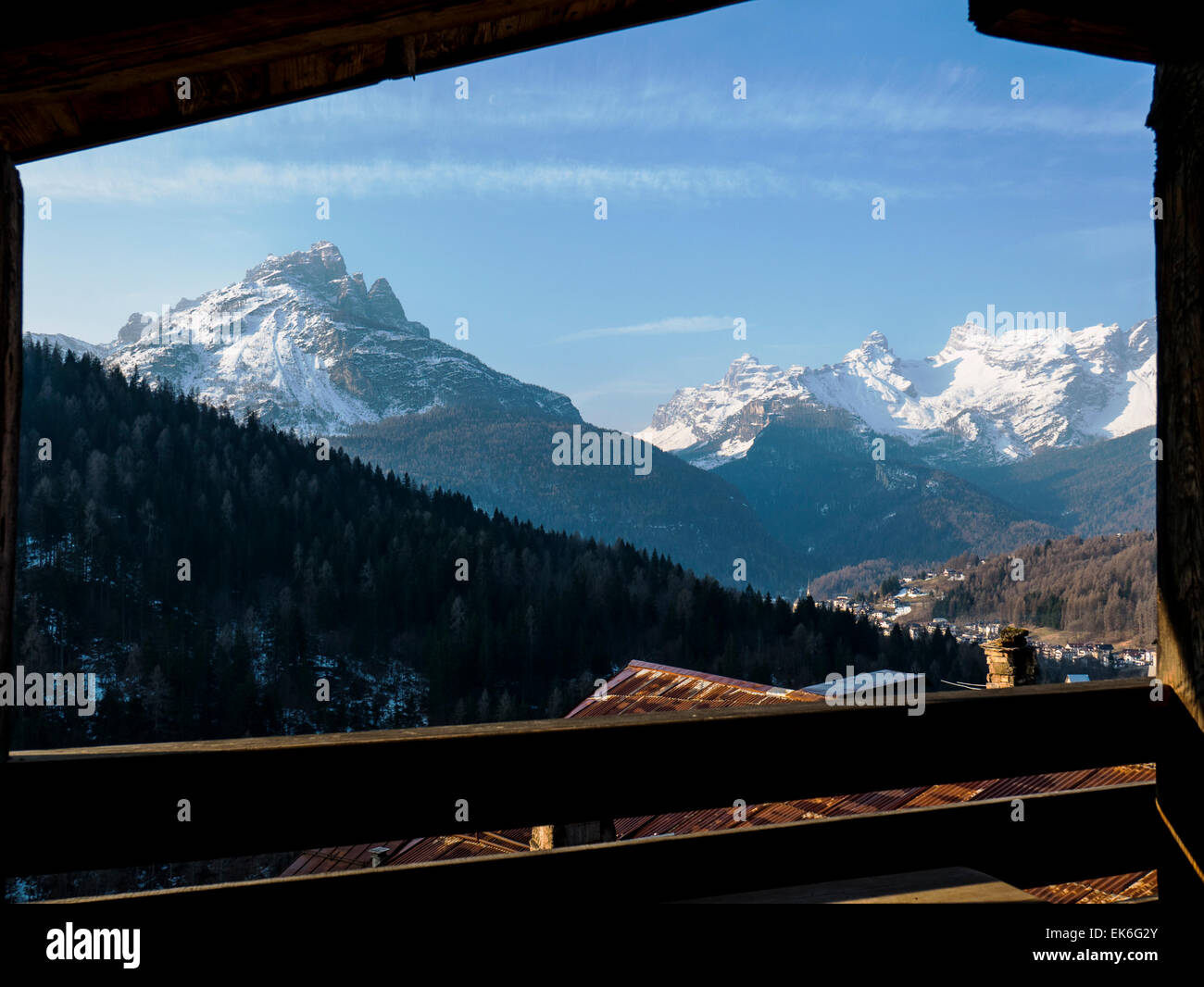 View of the Dolomite Mountains from the Dormì e Disnà bed & breakfast,  Zoldo Valley; Fornesighe; - Stock Image