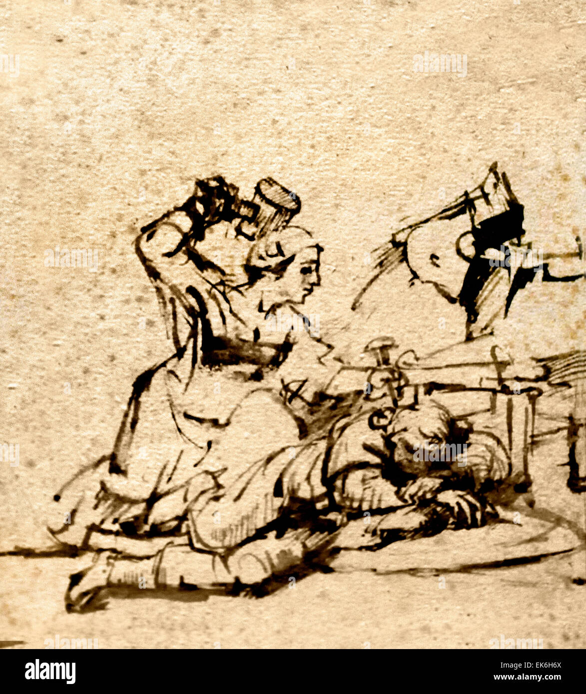Jael Killing Sisera 1657 Rembrandt Harmenszoon van Rijn1606–1669 Dutch  Netherlands ( pen and brown ink )