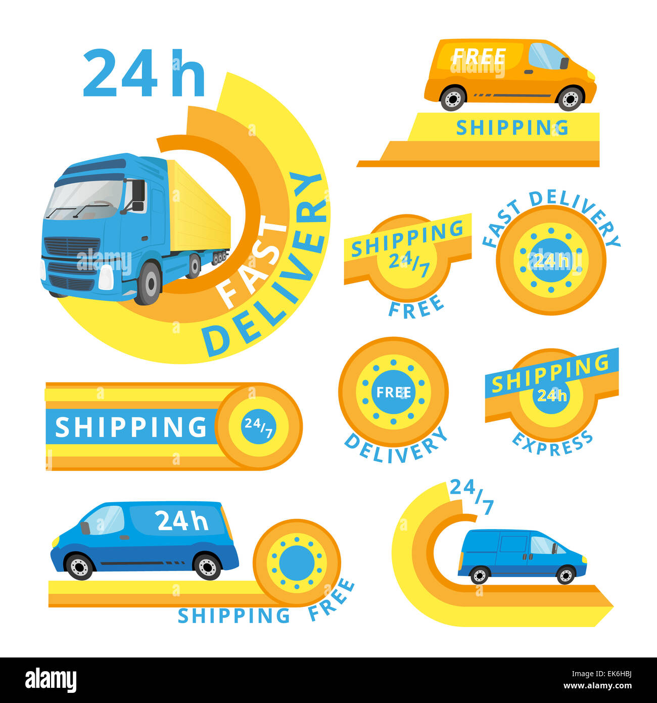 Delivery car set - Stock Image
