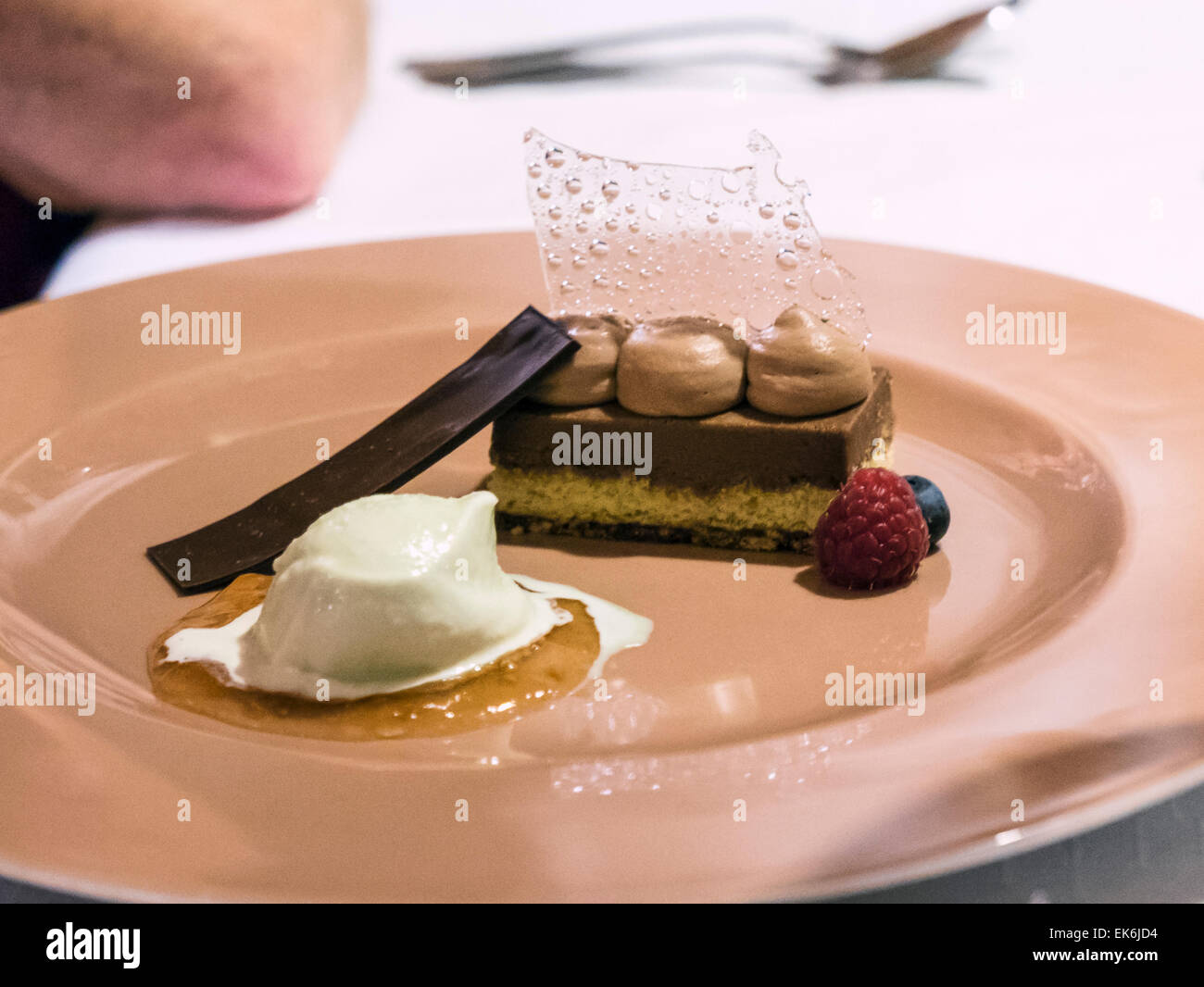 Fancy dessert, Rifugio Fuciade, Pale di San Martino, Dolomite Mountains, Alps, Italy - Stock Image