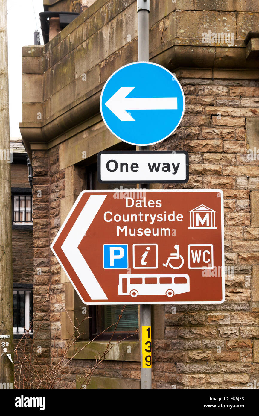 Road sign to the Dales Countryside Museum, Hawes, North Yorkshire Dales, UK - Stock Image