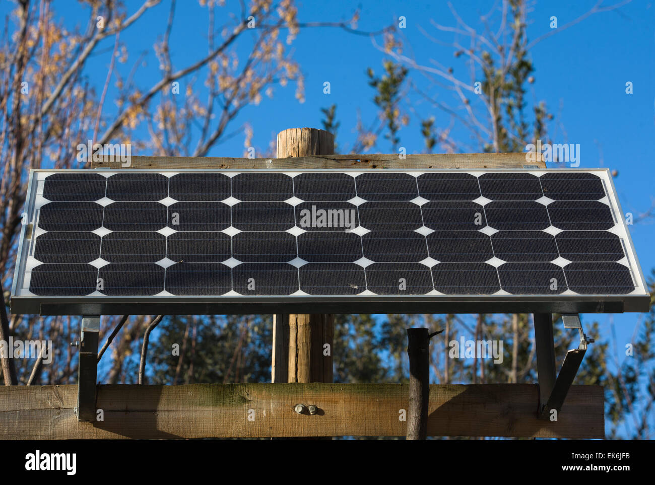 This solar panel is a stand-alone photovoltaic power system or electrical power systems energised by photovoltaic - Stock Image