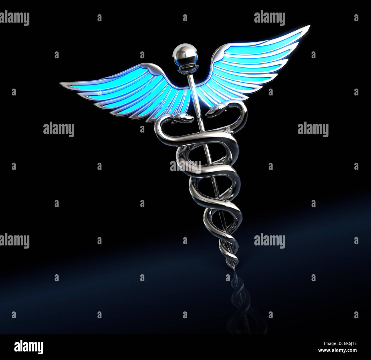 Silver caduceus medical symbol - Stock Image