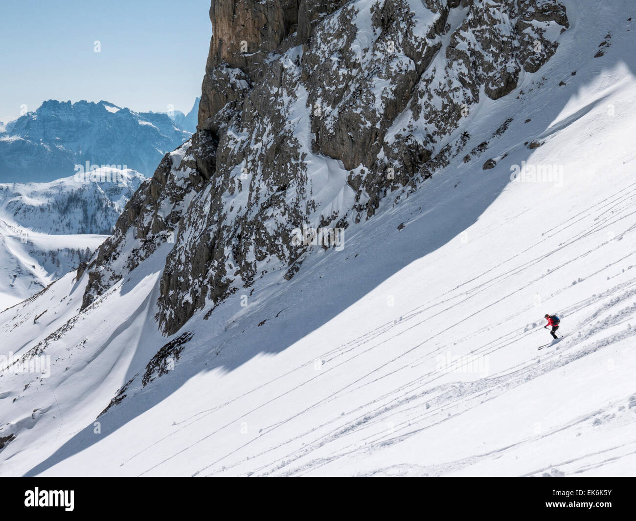 Backcountry skiers near the Rifugio Fuciade, Pale di San Martino, Dolomite Mountains, Alps, Italy - Stock Image