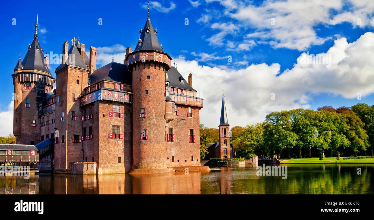 De Haar castle - beautiful castle near Urtrecht in Holland - Stock Image