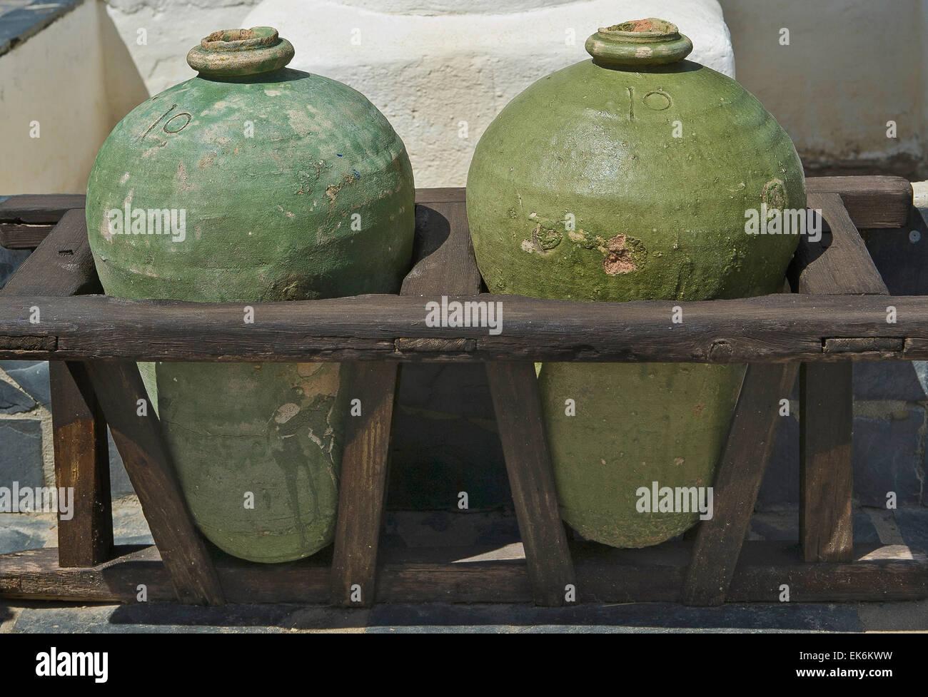 Old wooden base for transportation of jars, Huelva, Spain - Stock Image