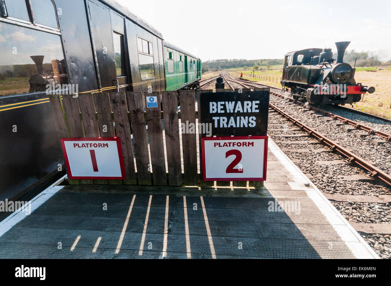 Steam train and carriages at Downpatrick Railway Preservation Society - Stock Image