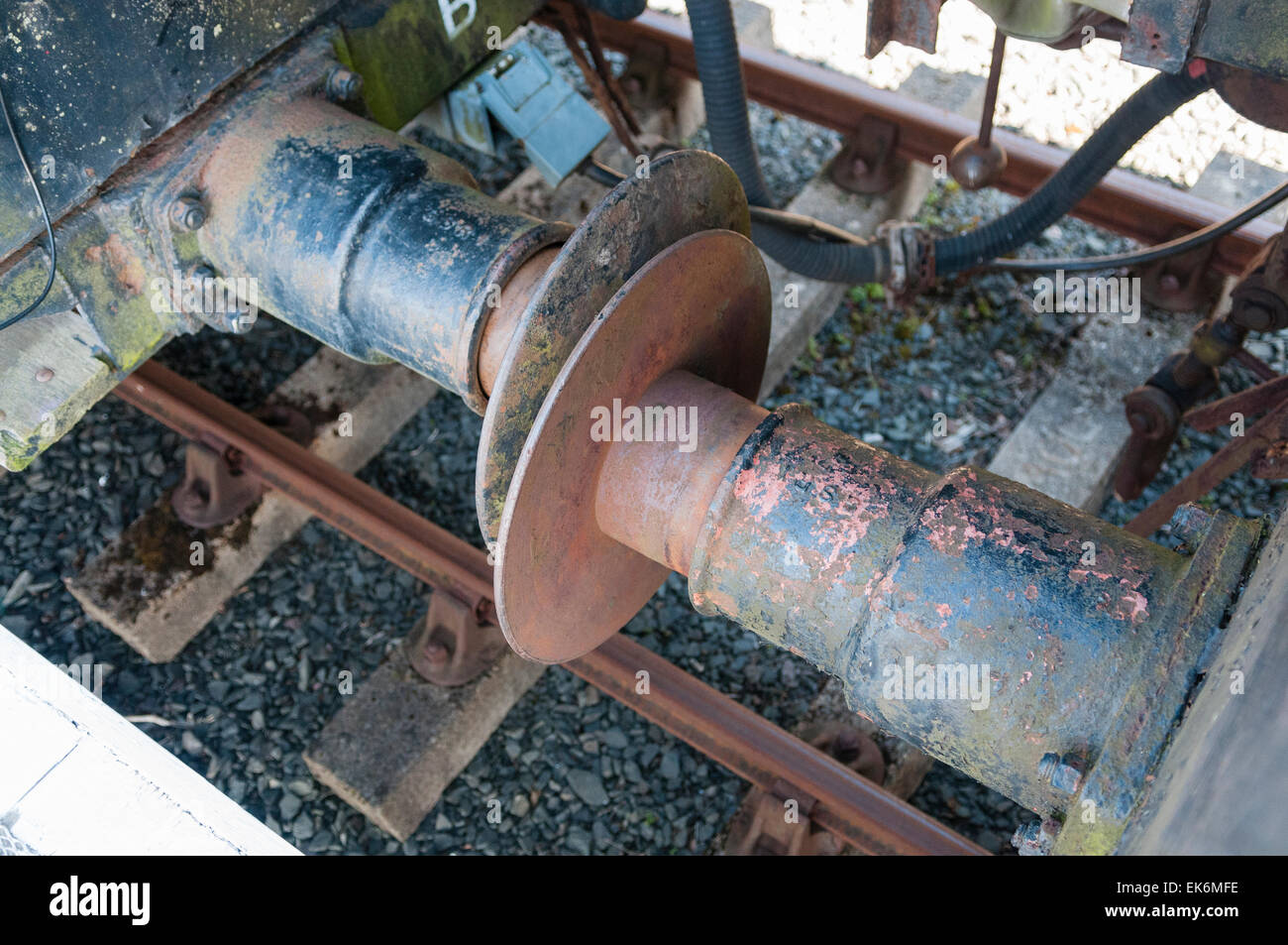 Buffers between two railway carriages - Stock Image