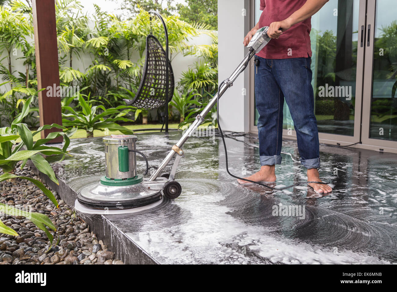 Thai People Cleaning Black Granite Stock Photos Thai People