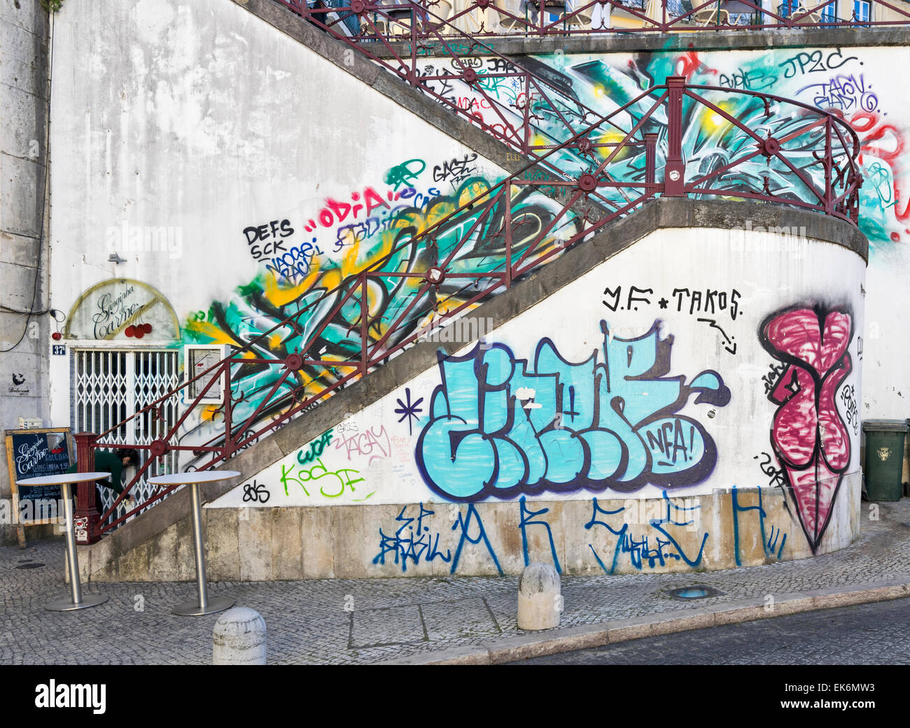 LISBON PORTUGAL WALL ART AND SLOGANS OR GAFFITI ON A STAIRWAY IN THE CITY CENTRE - Stock Image