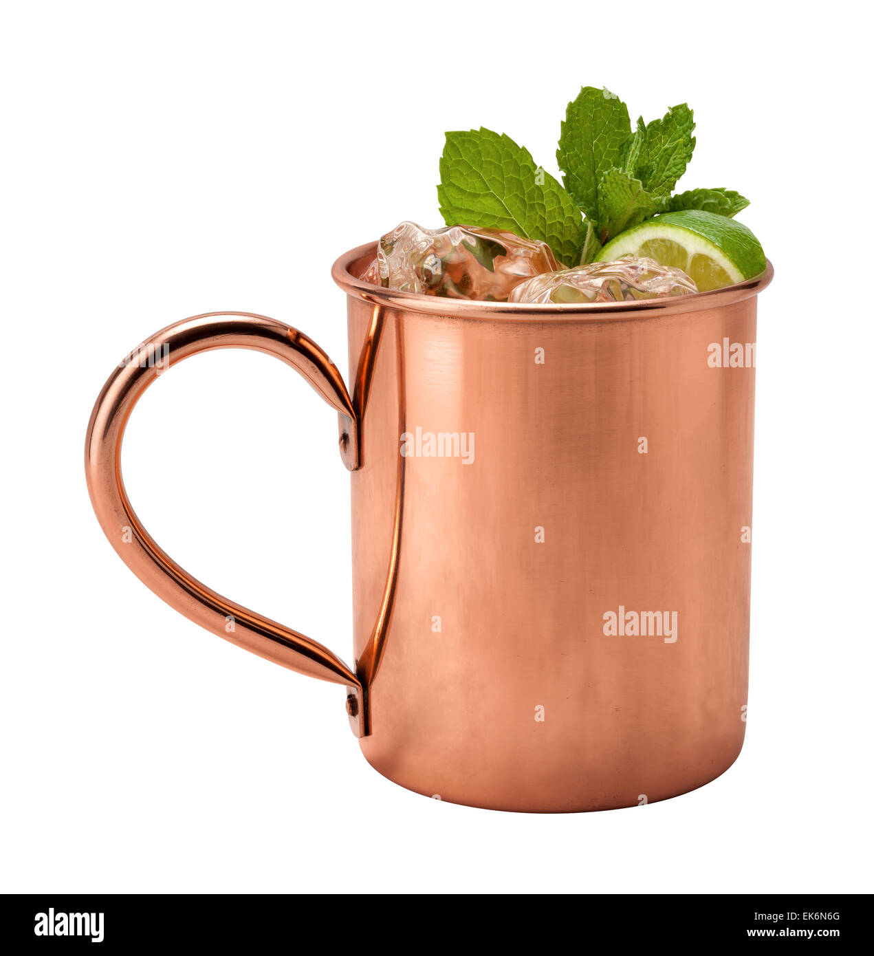 Moscow Mule in a Copper Mug. - Stock Image