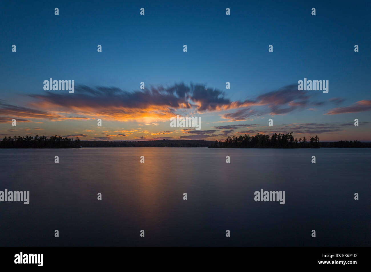 Sunset over Eagle Lake, South River, Ontario, CanadaStock Photo