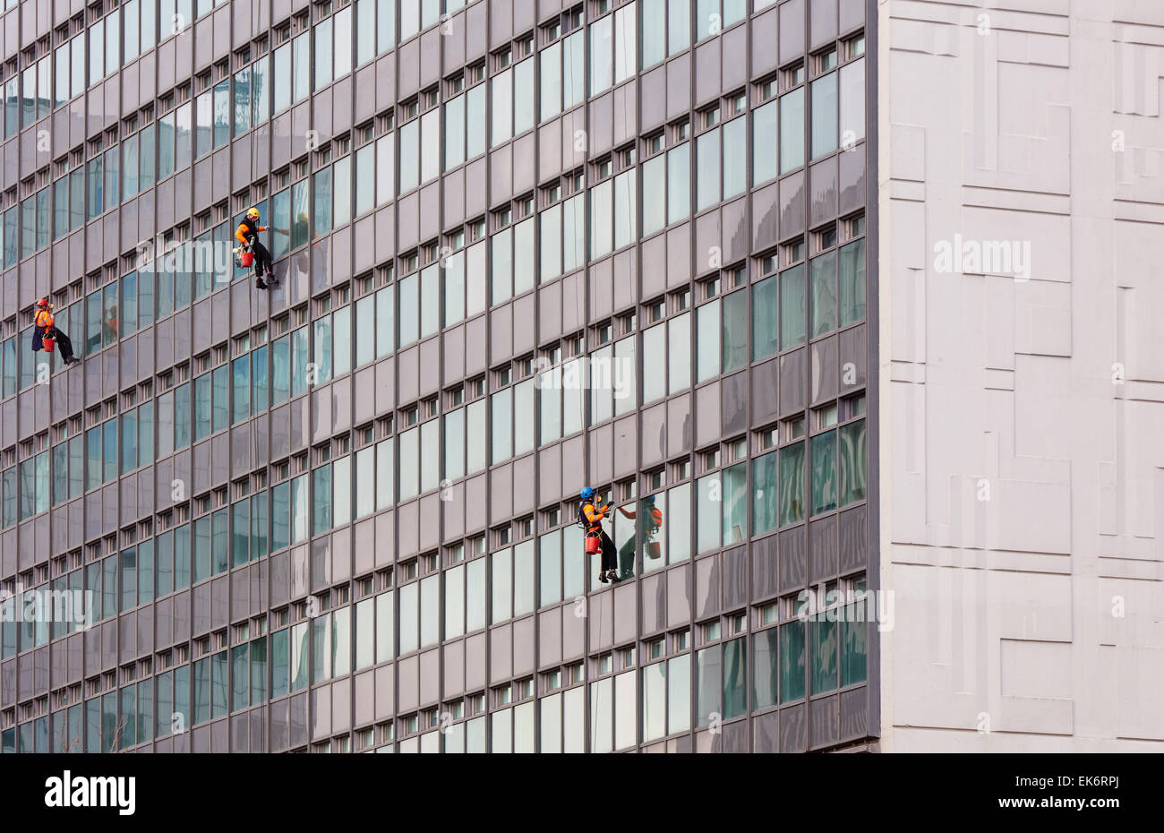 Manchester City Tower office block window cleaning team Stock Photo