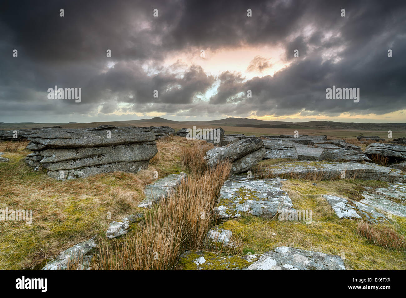 A dramatic stormy sky over Bodmin Moor in Cornwall, looking out toward the hills of Roughtor and Brown Willy - Stock Image