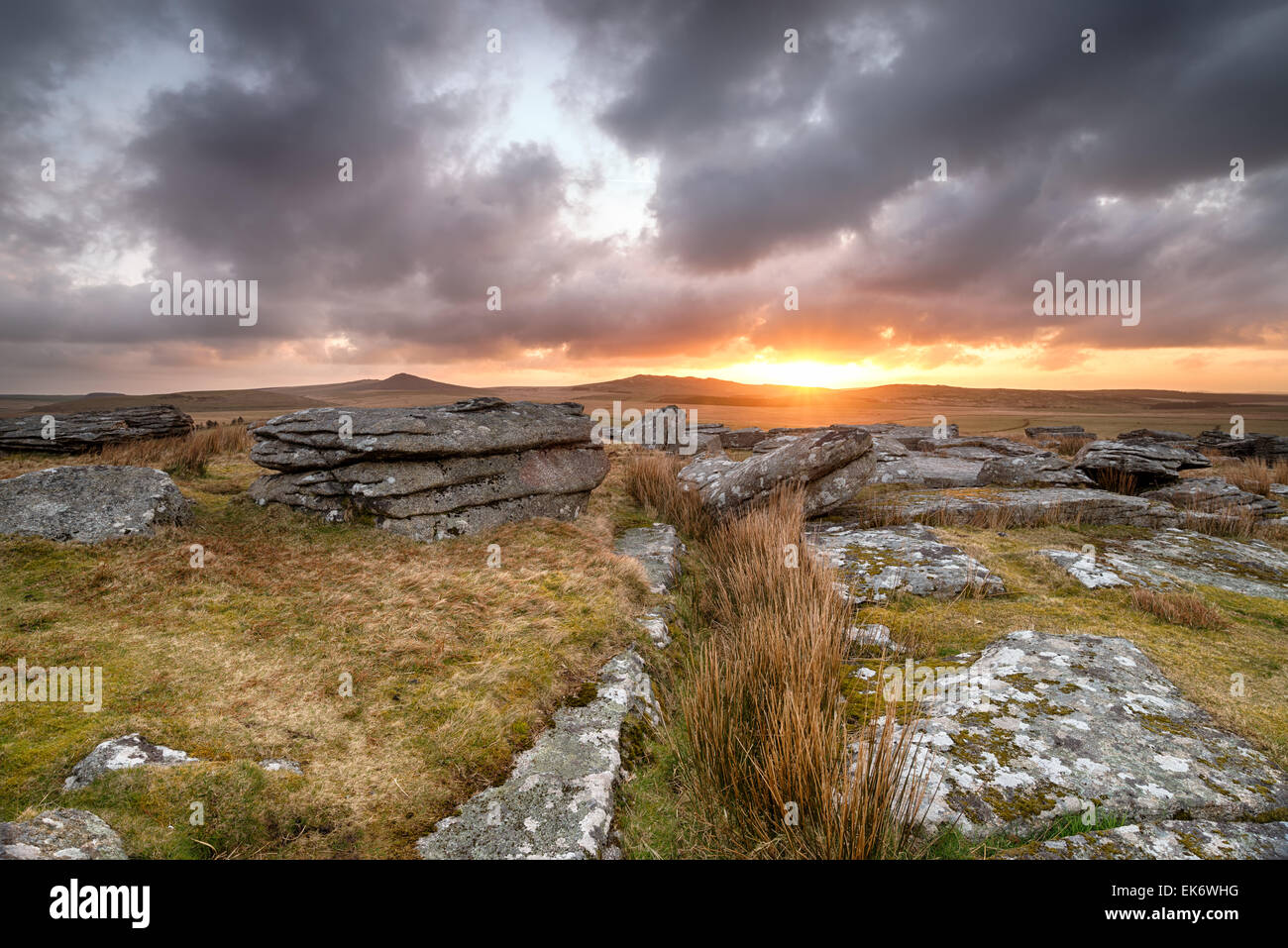 Dramatic sunrise over Bodmin Moor with Roughtor and Brown Willy in the background - Stock Image