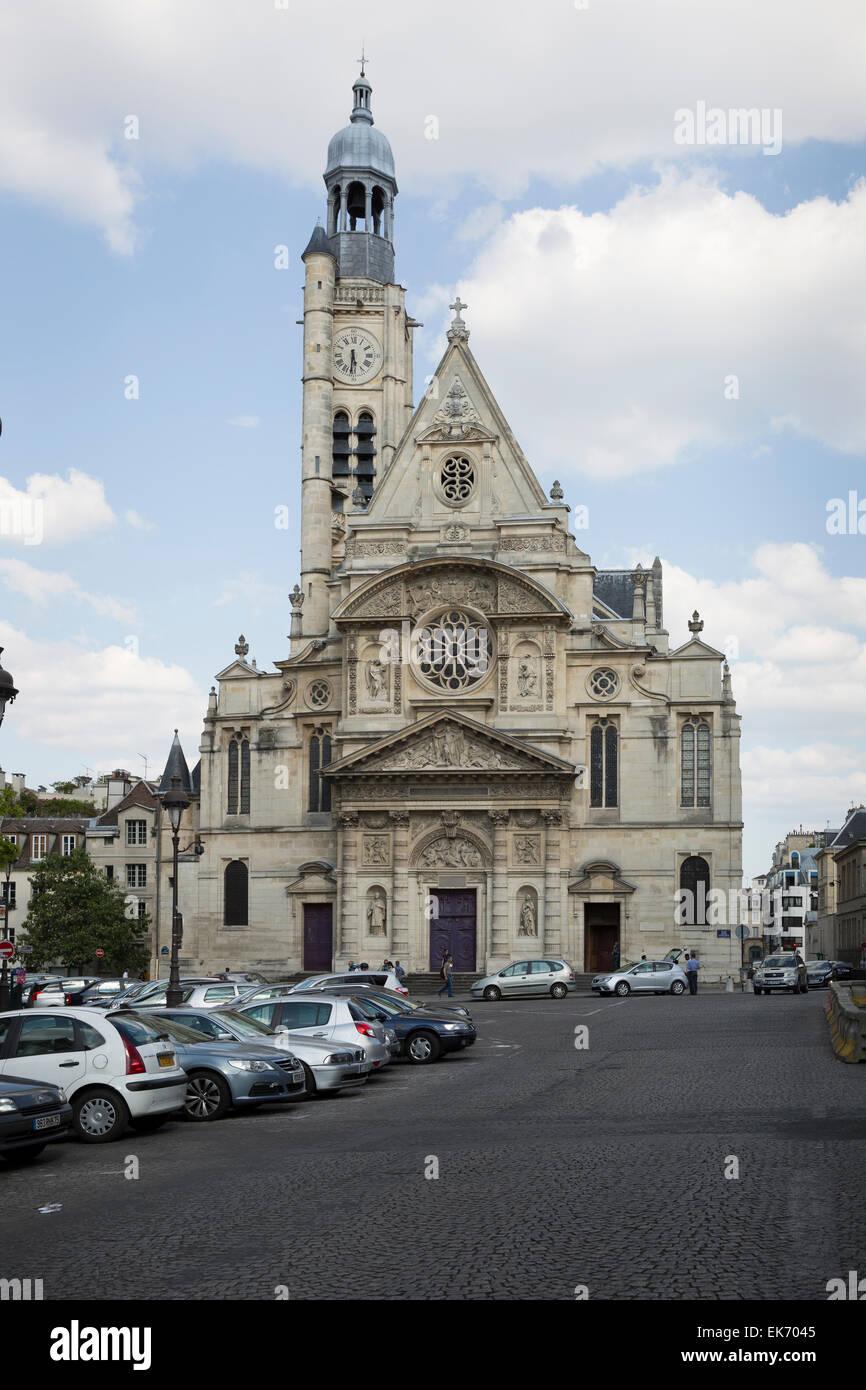 Église Saint-Étienne-du-Mont church is located on the Montagne Sainte-Genevieve in the 5th arrondissement - Stock Image
