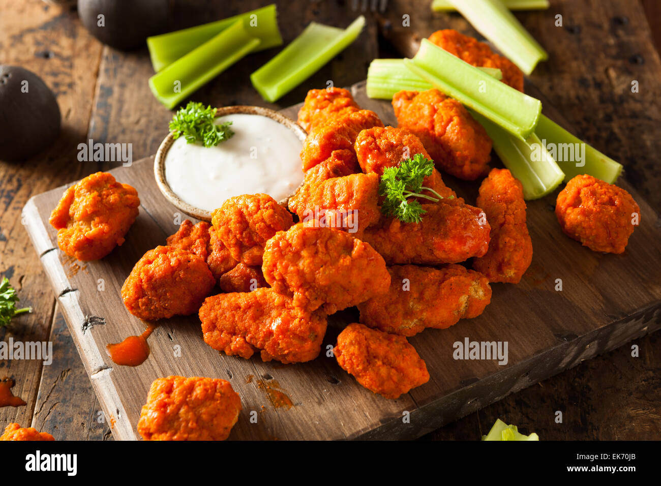 Hot and Spicy Boneless Buffalo Chicken Wings with Ranch - Stock Image