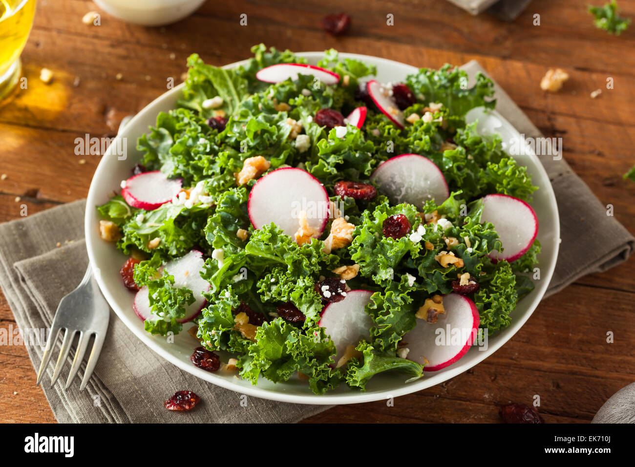 Healthy Raw Kale and Cranberry Salad with Cheese and Nuts - Stock Image