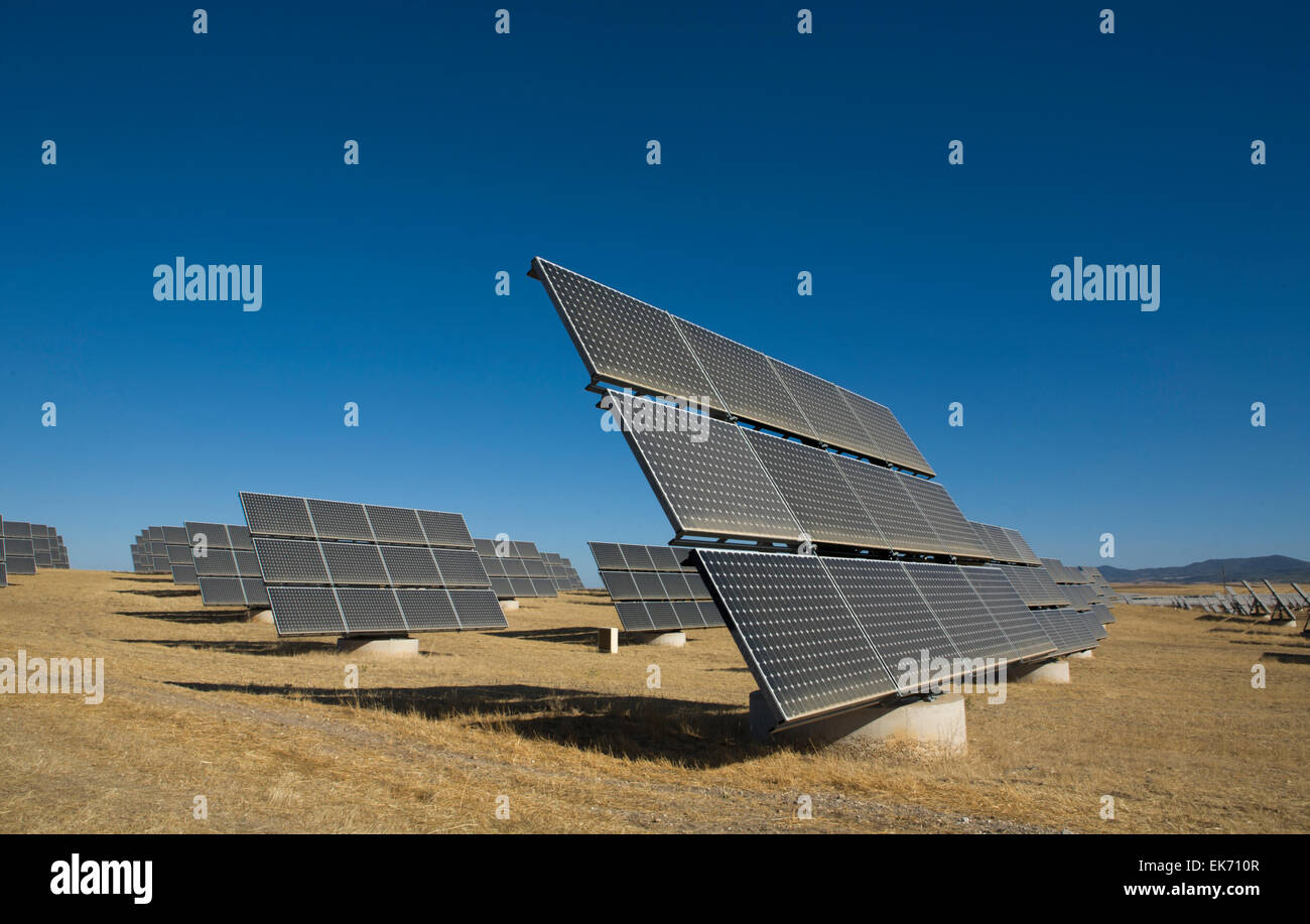 Photovoltaics energy generates electrical power by converting solar radiation into direct current electricit. It - Stock Image
