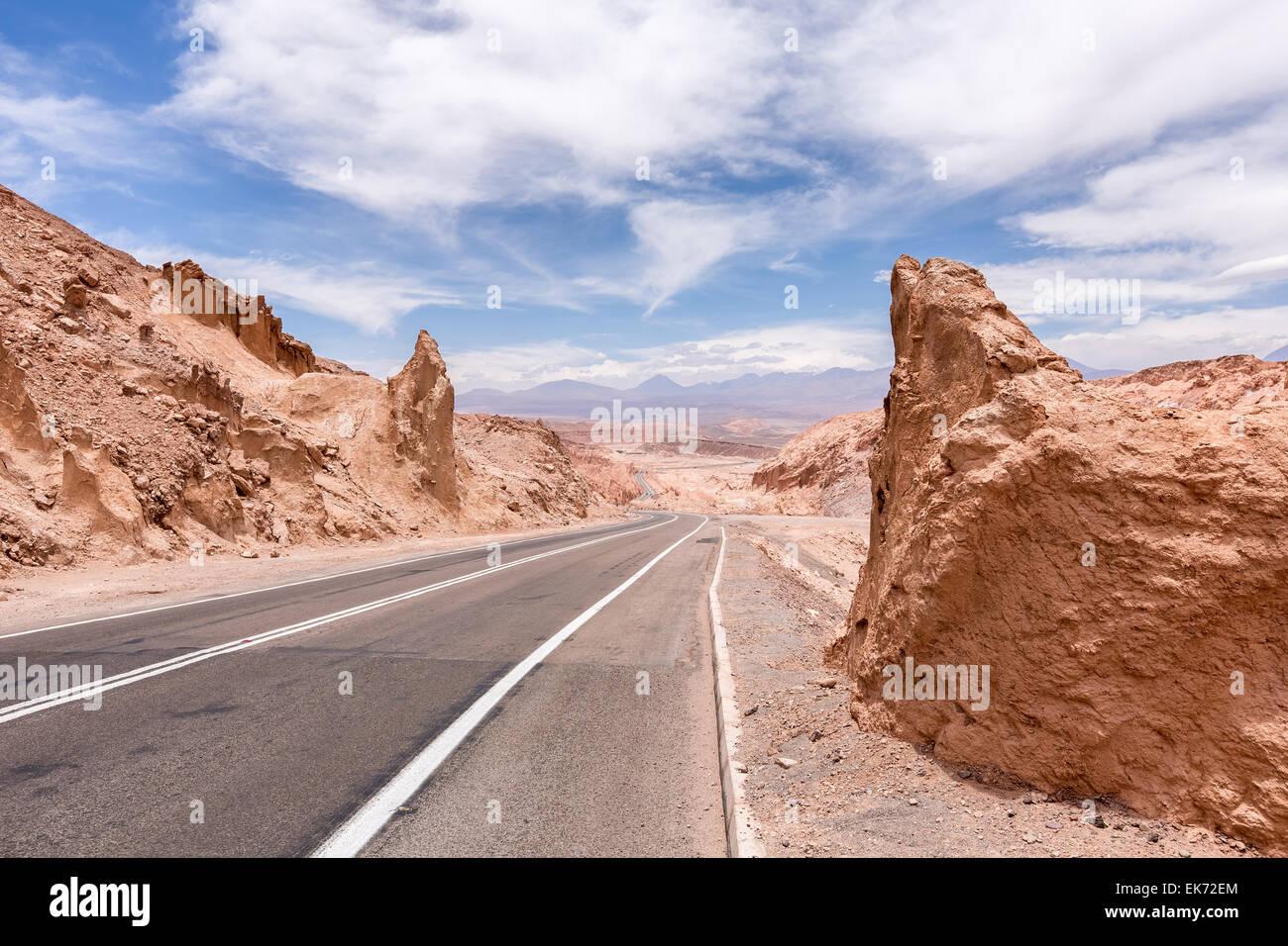 Desert road near San Pedro de Atacama, Chile, South America - Stock Image