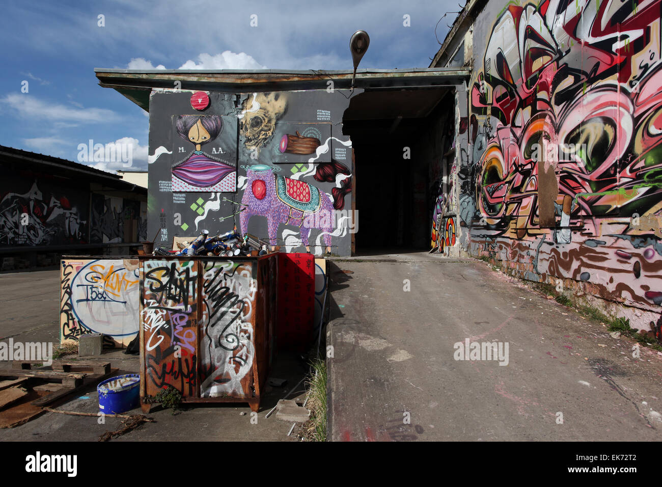 The Aerosol-Arena, Germany's largest Hall of Fame,located in an old industrial area of the former GDR. Magdeburg, - Stock Image