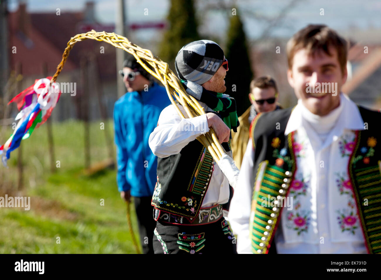 Easter Monday - young boys passes through the village with a whip and whipping girls, Sakvice, Southern Moravia, Stock Photo
