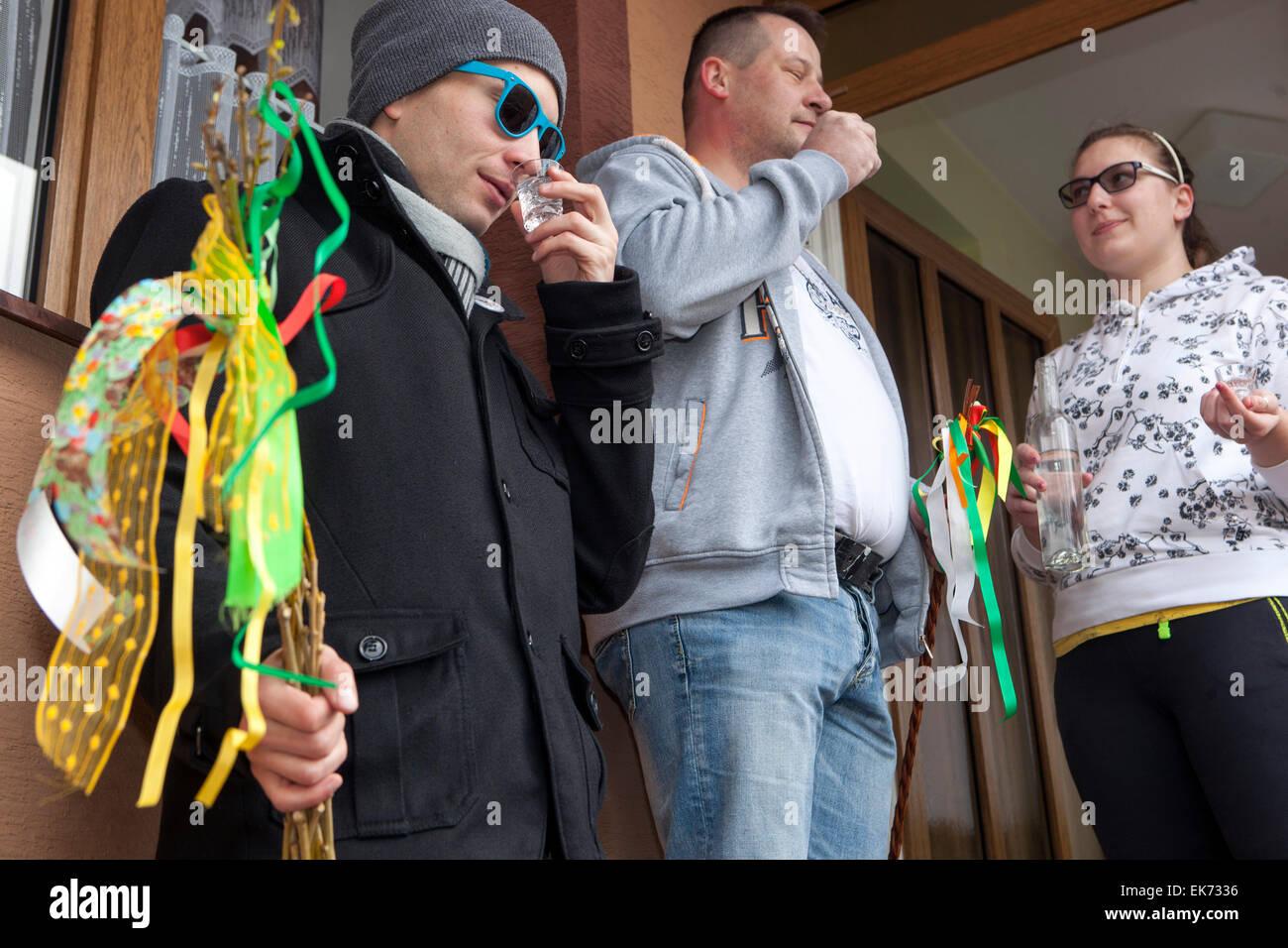 Easter Monday - refreshments for the boys carol, Sakvice, Southern Moravia, Czech Republic Stock Photo