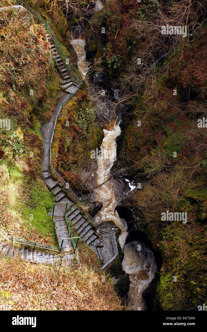 Devil's Bridge, Aberystwyth, Wales. Water cascading into the Punchbowl. Torrent. - Stock Image