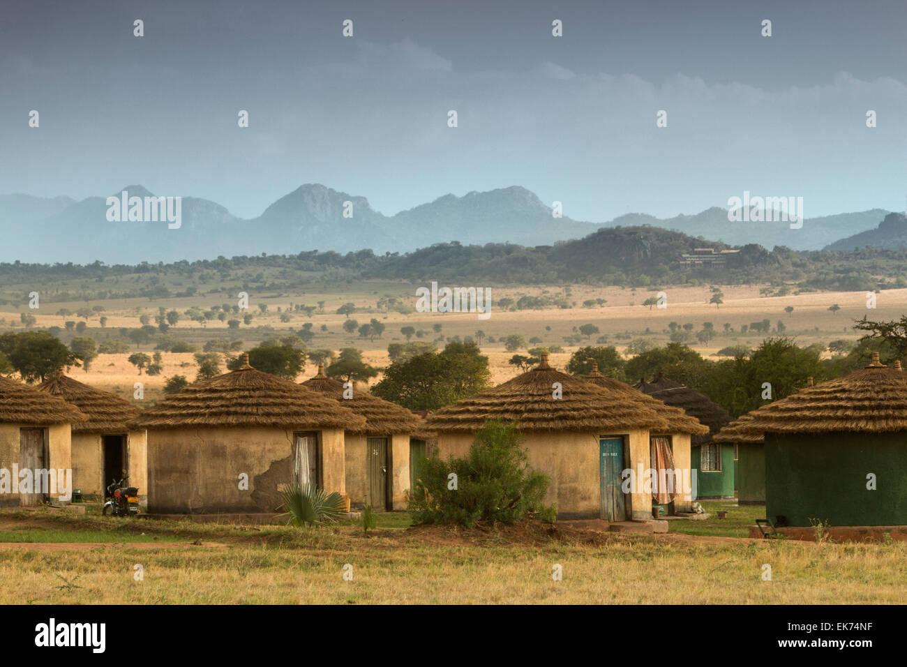 Apoka bandas (lodge) at Kidepo Valley National Park in Northern Uganda, East Africa Stock Photo