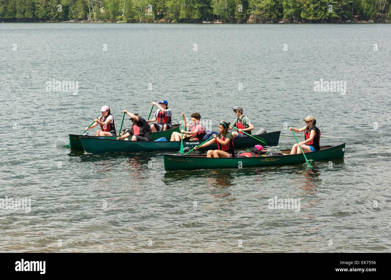 New York, Adirondack Park, canoes, canoeing, canoeist paddling, paddle - Stock Image