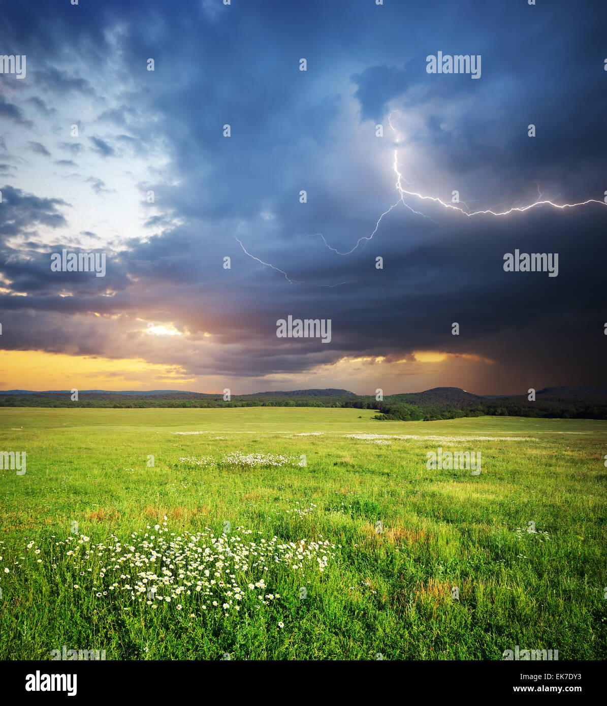 Meadow in mountain. Rain cloud and lightning. Nature composition. - Stock Image